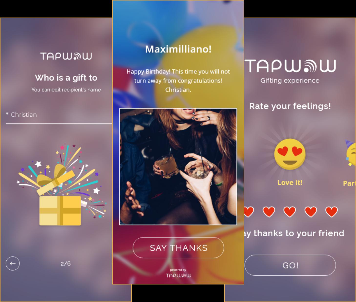 tapwow application screens